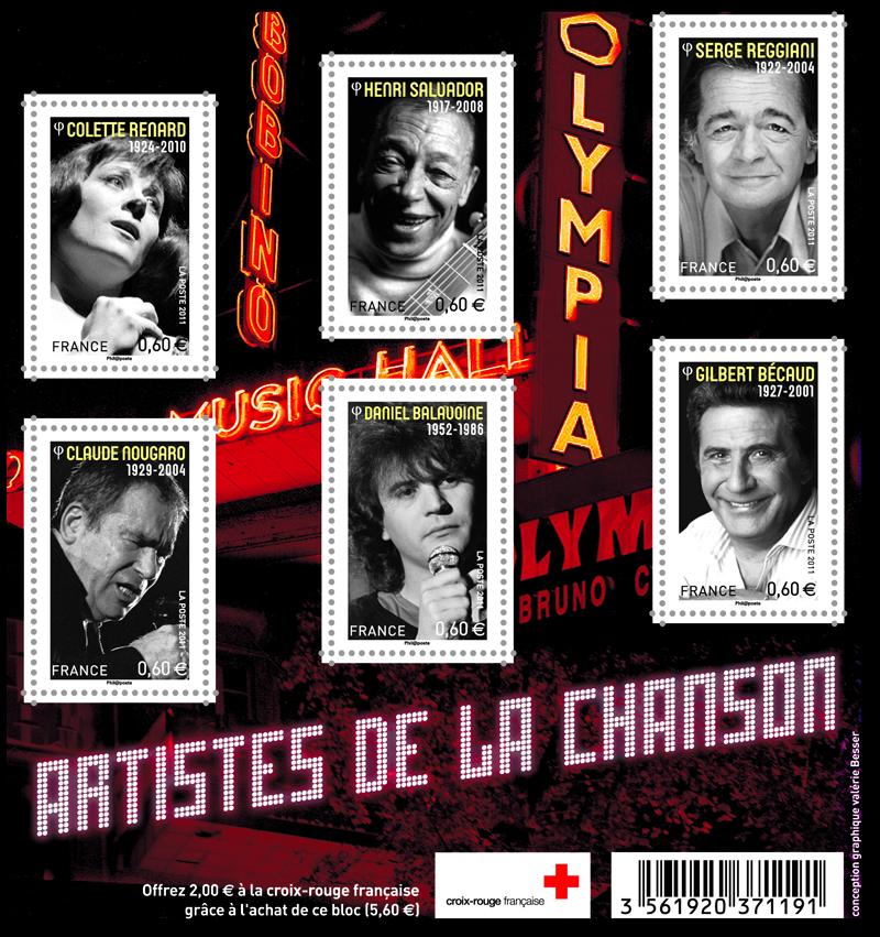 BLOC TIMBRES ARTISTES DE LA CHANSON